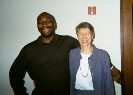 Me with Catherine Lacey at the Spencer Foundation, June 25, 2002. (Angelia N. Levy).