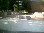 The newly installed mini-skateboard park (minus a fence between it and the basketball court), Downtown Silver Spring, MD, August 8, 2010 (Donald Earl Collins)