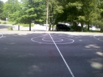 The one outdoor full court at Woodside Park (there is one indoor basketball court -- usually closed -- at this facility as well), Downtown Silver Spring, MD, August 8, 2010 (Donald Earl Collins)