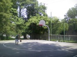 The front court at Woodside Park facing Georgia Avenue (note the fence to keep basketballs from flying into traffic), Downtown Silver Spring, MD, August 8, 2010 (Donald Earl Collins)