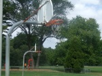 Two of the hoops at Meadowbrook Park, including the bent one, September 17, 2010 (Donald Earl Collins)