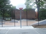 A full view of the hoop, new fence and skateboarding area, Woodside Park, September 17, 2010 (Donald Earl Collins)