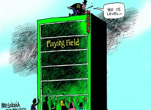 1%'s Playing Field cartoon (applicable to who gets second chances, too), December 28, 2013. (Mike Luckovich, Atlanta Journal-Constitution).
