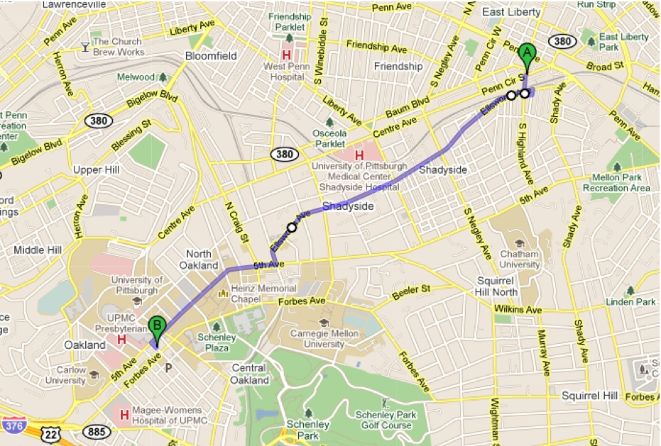 Map 6007 Penn Cir S, Pittsburgh, PA 15206 to Atwood St & Forbes Ave ...