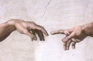 Hands of God & Adam, fingers about to touch, Sistine Chapel ceiling, Vatican, Michelangelo, 1508-1512 (via Wikipedia). In public domain.