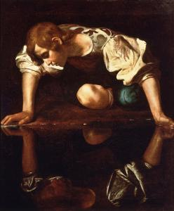 Caravaggio's Narcissus (1594-96) , May 15, 2011. (Masur via Wikipedia). In public domain.