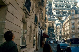 Inception (2010), Paris dream construct screen shot, April 27, 2012. (http://dpmlicious.com). Qualifies as fair use under US Copyright laws because of poor resolution of shot, not intended for distribution.