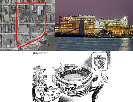 Gentrification via sports collage, December 22, 2012. [Includes aerial view of location of new DC baseball stadium site, June 22, 2006, http://www.wreckingcorp.com; Nationals Park Greeting Card; Baseball Stadium Price Tag cartoon, March 27, 2008 (Nate Beeler/Washington Examiner)]