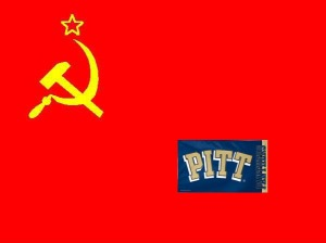 Hammer & Sickle & Pitt Flag [symbolic of Pitt's history department], December 13, 2012. (Donald Earl Collins).