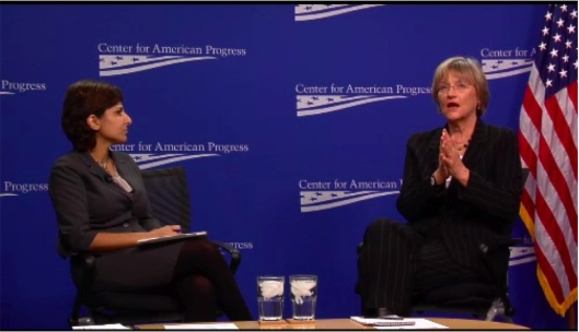 "Neera Tanden and Drew Gilpin Faust, Center for American Progress' ""Investing in the Future"" event (screen shot), Washington, DC, December 10, 2012. (http://americanprogress.org)."