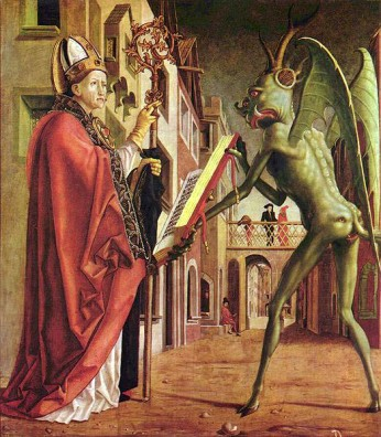 Saint Wolfgang and The Devil [Faustian Bargain], by Michael Pacher, ca. 1471-1475, Munich, Germany, February 19, 2009. (The Yorck Project via Wikipedia). In public domain.