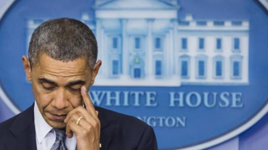 President Barack Obama tears up during White House press conference on Newtown, CT mass shooting, December 14, 2012. (UPI)