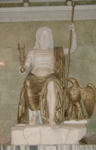 Roman Seated Zeus, marble and bronze (restored), Hermitage Museum, St. Petersburg, Russia, January 4, 2006. (Sanne Smit via Wikipedia). In public domain.