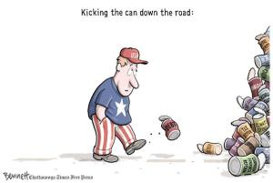 """Kicking the can down the road"" cartoon, September 23, 2012. (Clay Bennett/ Chattanooga Times Free Press)."