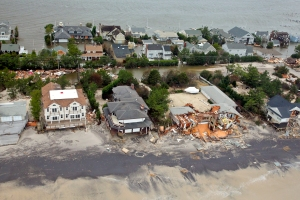 Aerial views of the damage caused by Hurricane Sandy,  New Jersey coast taken during a search and rescue mission, October 30, 2012.  (Master Sgt. Mark C. Olsen, USAF/Wikipedia). In public domain.