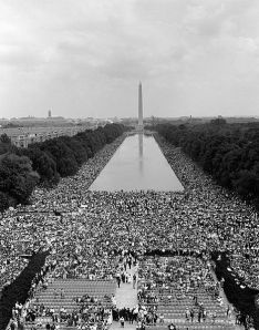 Hundreds of thousands descended on Washington, DC's Lincoln Memorial August 28, 1963. (Marines' Photo via Wikipedia). In public domain.