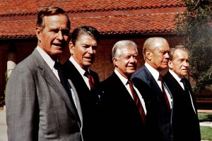 Photo of Presidents George H.W. Bush, Reagan, Carter, Ford and Nixon at the  Ronald Reagan Presidential Library dedication, Simi Valley, CA, November 4, 1991. (Anne Cusack/Los Angeles Times).