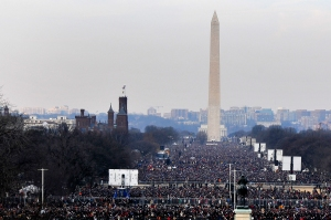 Crowd at National Mall morning of President Obama's inauguration, January 20, 2009. (DoD photo by Senior Master Sgt. Thomas Meneguin, USAF/Wikipedia). In public domain.