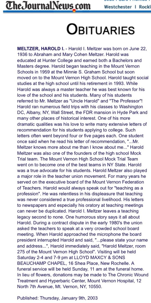 Harold Meltzer obituary (via Frank Pandolfo), January 9, 2003. (Westchester Journal News).