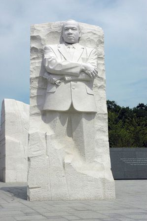 Martin Luther King, Jr. Memorial statue, National Parks Service, Washington, DC, August 2, 2012. (NPS via Wikipedia). Qualifies as fair use under US Copyright laws, as this is a 2D picture of a 3D sculpture.