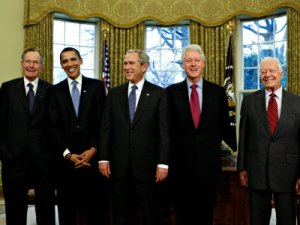 Photo of living presidents with then President-Elect Barack Obama in the Oval Office, January 7, 2009. (http://npr.org).