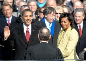 President Barack Obama takes his first oath of office, US Capitol, January 20, 2009. (DoD photo by Master Sgt. Cecilio Ricardo, USAF/Wikipedia). In public domain.