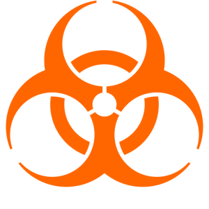 Biohazard symbol (orange), May 29, 2009. (Nandhp via Wikipedia). In public domain.