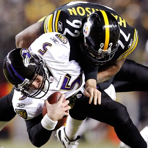 Pittsburgh Steelers' James Harrison sacks Baltimore Ravens QB Joe Flacco, AFC Division Round, January 15, 2011. (http://espn.go.com).