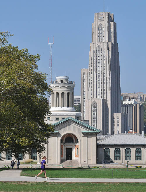 Viewing Pitt's Cathedral of Learning from Carnegie Mellon's mall (with Hamerschlag Hall in foreground), March 29, 2003. (http://post-gazette.com)