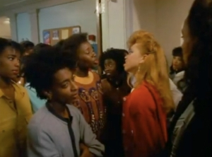 """""""Good and Bad Hair"""" scene, School Daze (1988), March 10, 2013. (Donald Earl Collins via YouTube). Qualifies as fair use (see previous picture)."""