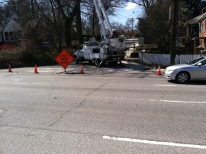 Utility work closing off Lorain Avenue (cones included, Silver Spring, MD, March 14, 2013 (2:37 pm). (Donald Earl Collins).