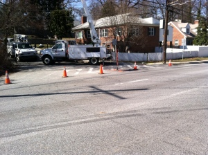 Utility work on Lorain Avenue (slightly different angle - 3rd truck hidden from view), March 14, 2013 (2:38 pm). (Donald Earl Collins).