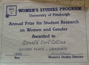 Pitt's Women's Studies Program Annual Prize for Student Research on Women and Gender, June 1993, March 27, 2013. (Donald Earl Collins).