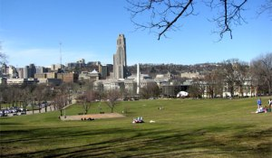 Pitt and Carnegie Mellon (with Forbes Quad & Baker Hall included) as seen from Schenley Park, Pittsburgh, PA, March 21, 2013. (http://milliverstravels.com).