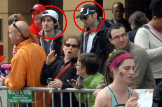 Dzhokhar & Tamerlan Tsarnaev in Boston Marathon crowd moments before bomb blasts, April 15, 2013. (http://www.mirror.co.uk)
