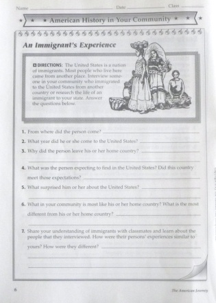 """An Immigrant's Experience"" worksheet from The American Journey activity workbook, May 28, 2013. (Donald Earl Collins)."