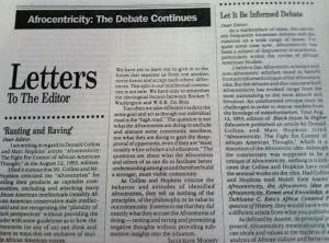 Letters to the Editor, Black Issues in Higher Education, September 9, 1993. (Donald Earl Collins).