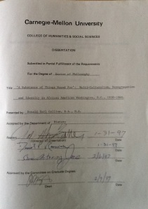 My dissertation's signature page, May 18, 2013. (Donald Earl Collins),
