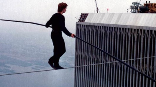 Philippe Petit in midst of his high-wire crossing between the Twin Towers, New York City, August 7, 1974. (http://www.talktalk.co.uk).