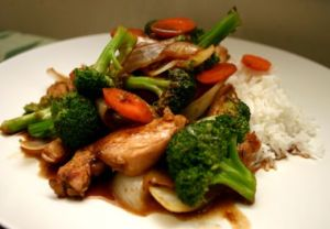 Chicken and broccoli stir-fry over rice, February 2013. (http://slimimzsolutions.com).