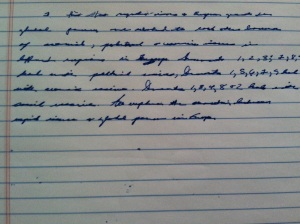 My pretend version of an introduction to a documents-based question essay for AP World History (in my best-worst handwriting), June 21, 2013. (Donald Earl Collins).