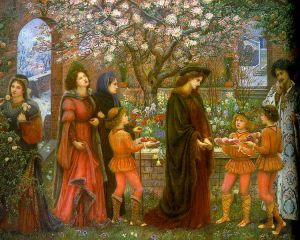 The Enchanted Garden of Messer Ansaldo (1889), by Marie Spartali Stillman, March 7, 2006. (Charivari via Wikipedia). In public domain.