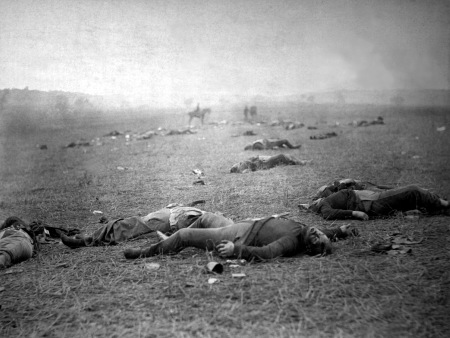 """A Harvest of Death,"" Gettysburg, PA, July 5-6, 1863. (Timothy O'Sullivan). In public domain."