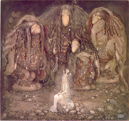 John Bauer's illustration from Walter Stenström's The boy and the trolls or The Adventure in childrens' anthology Among pixies and trolls (1915), November 1, 2005. (Thuresson via Wikipedia). In public domain.