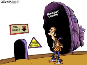Student debt cartoon (although this is hardly the only stressor adult learners and other nontraditional-traditional students face), May 2, 2012. (Phil Hands/Wisconsin State Journal).