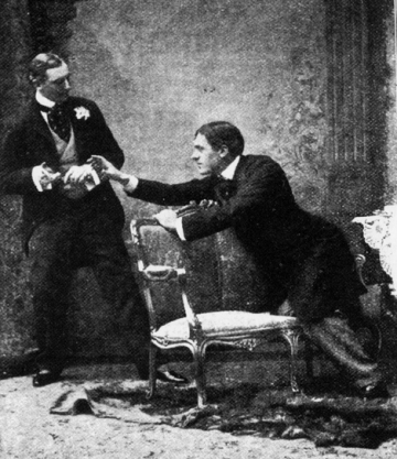 Oscar Wilde's The Importance of Being Earnest, with Allan Aynesworth as Algernon (left) and George Alexander as John (right), St. James Theatre, London, UK, February 14, 1895. (Ramac via Wikipedia). In public domain.