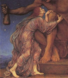 Evelyn de Morgan's The Worship of Mammon (1909), September 7, 2006. (Shell Kinney via Wikipedia). In public domain.