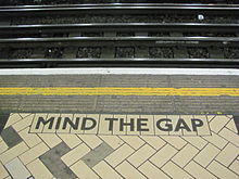 """Mind The Gap"" warning in London Underground, Victoria Station, November 27, 2011. (Reinhard Dietrich via Wikipedia). Released to public domain."