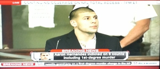 Aaron Hernandez indicted on six charges, including 1st-degree murder for allegedly killing Odin Lloyd, Attleboro, MA, August 22, 2013. (Screenshot via NFL Network).