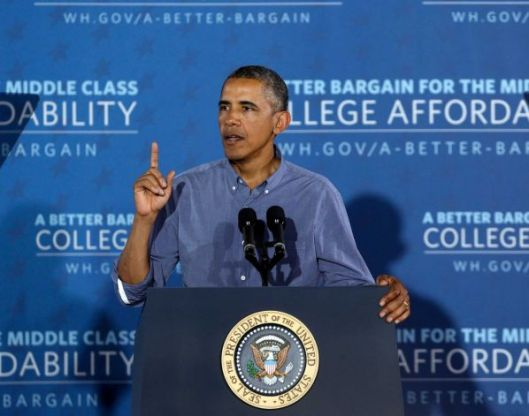 President Barack Obama speaking college affordability and a rating system, University of Buffalo (NY), August 22, 2013. (http://sfgate.com).